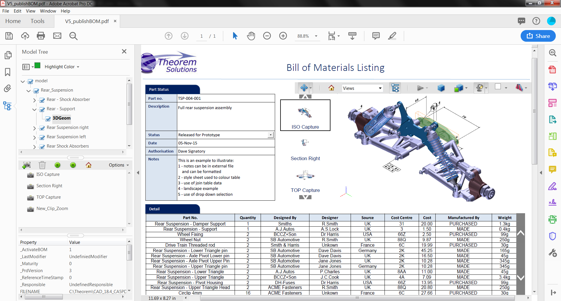 3DPDF Bill of Materials - BOM