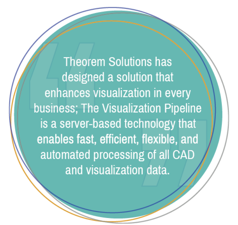 Theorem Solutions has designed a solution that enchances visualization in every business. The Visualization Pipeline is a server-based technology that enables fast, efficient, flexible and automated processing of all CAD and visualization data.